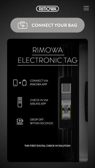 Home page of RIMOWA App